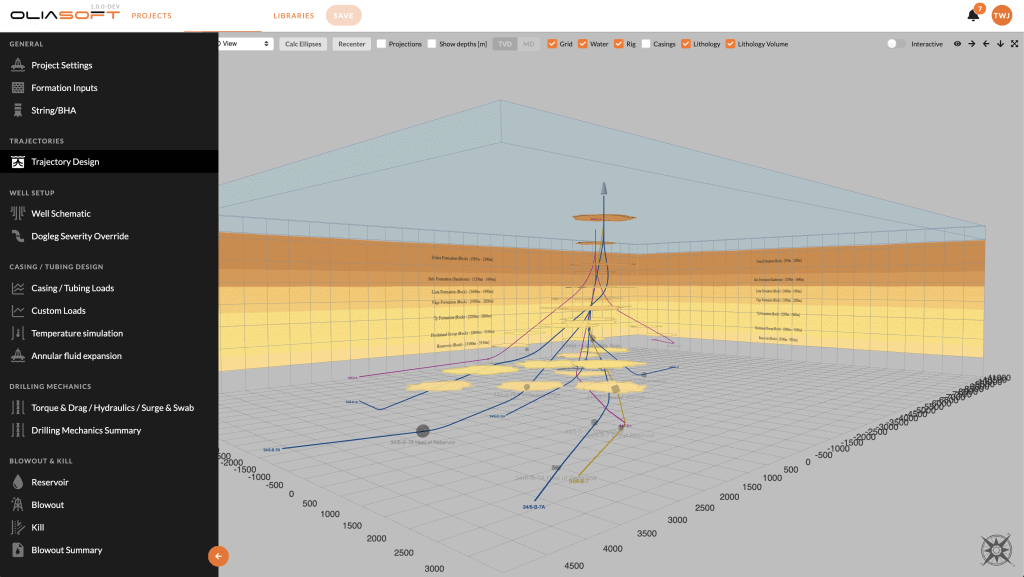 Oliasoft WellDesign_Trajectory Design_Lithology Volume